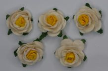 2.5cm WHITE YELLOW CWNTER Mulberry Paper Roses (only flower head)